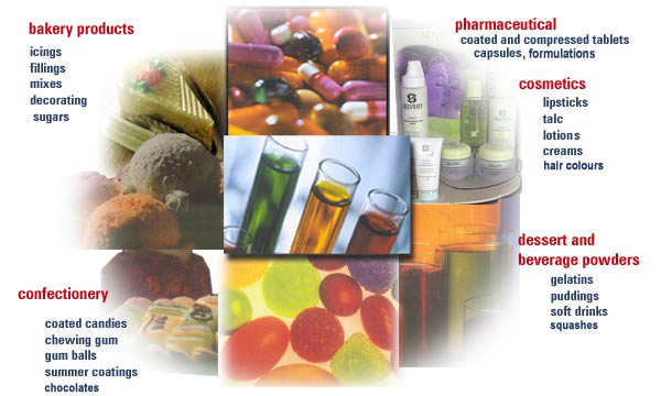 pharmaceutical colours, insoluble colour lakes, synthetic organic dyestuffs, food dyes, food colourants, cosmetic colours, food colour lakes, lake pigments, fda certified colours, cosmetic raw materials, synthetic organic colours, solvent colours, oil soluble colours, food additives, pigment dyes india